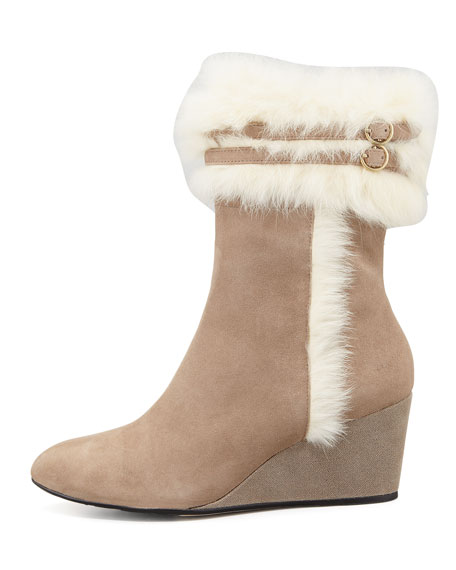 Kissy Fur-Trim Wedge Bootie, Camel