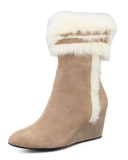 Taryn Rose Kissy Fur-Trim Wedge Bootie, Camel