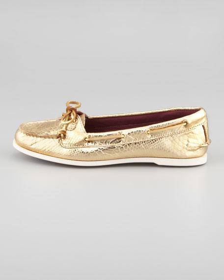 Audrey Metallic Python-Print Boat Shoe