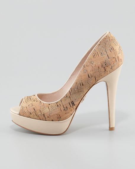 Ava Patent-Heel Cork Pump, Beige/Gold