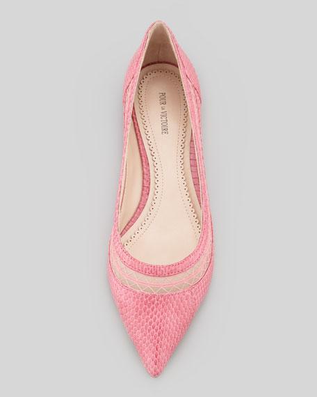 Braelyn Snake Mesh-Collar Flat, Pink