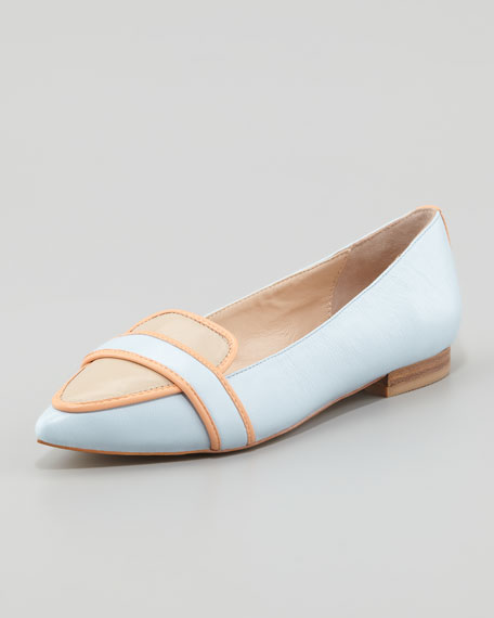 Bethany Tricolor Pointy Toe Flat, Blue/Orange/Beige