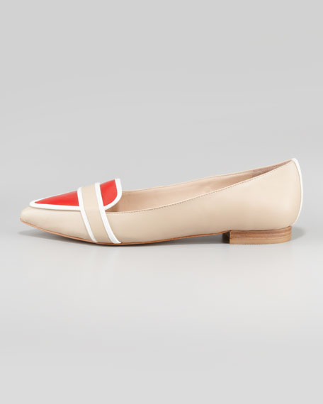 Bethany Tricolor Pointy-Toe Flat, Beige/White/Red