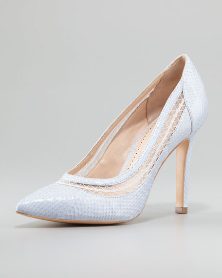 Cailyn Lace-Snake Pointy-Toe Pump, Lilac