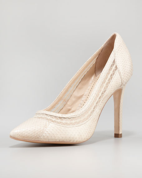 Cailyn Mesh-Collar Snake Pump, Beige