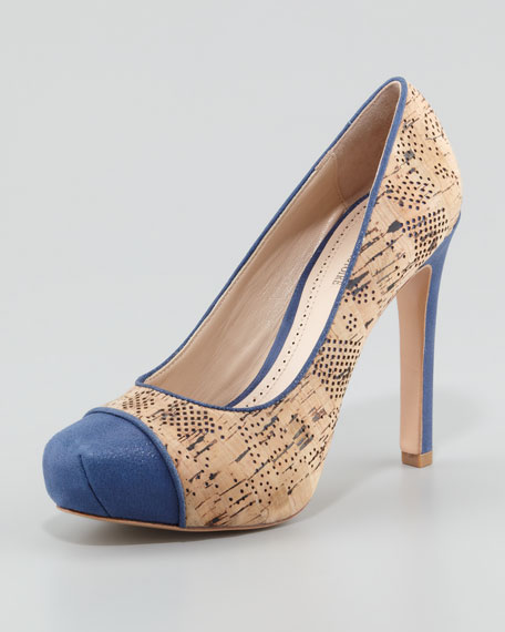 Gianna Shimmer-Cap-Toe Cork Pump, Navy/Natural