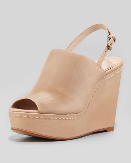 Lena Slingback Peep-Toe Wedge, Tan