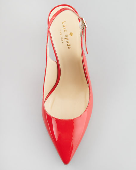 jilly slingback pointed-toe pump, maraschino red