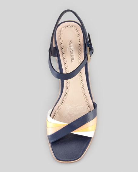 Rhea Golden-Heel Sandal, Navy/Orange/Yellow