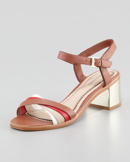 Rhea Golden-Heel Sandal, Cognac/Orange