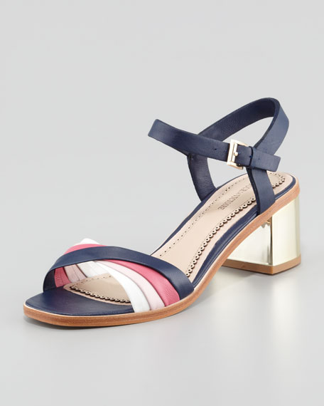 Rhea Golden-Heel Sandal, Navy/Pink/Light Pink