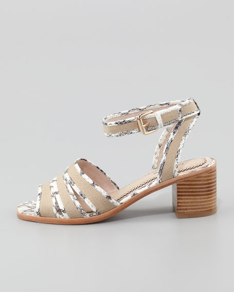 Rylie 2 Canvas & Snake Sandal, Marble