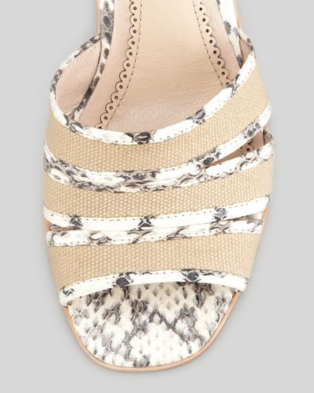 Rylie 2 Canvas & Snake Sandal, Marble