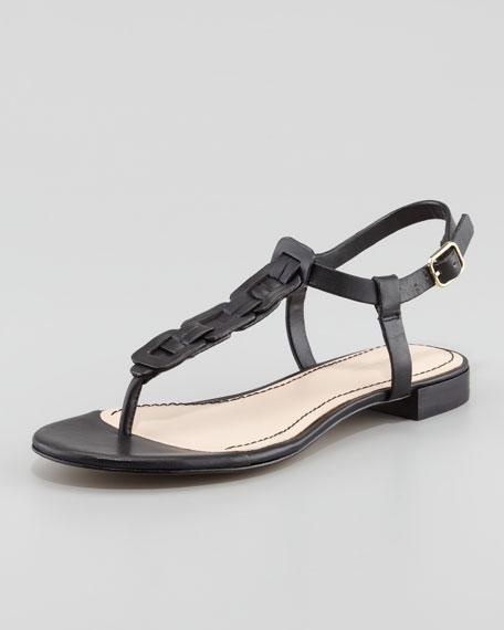 Enora Woven-T-Strap Thong Sandal, Black