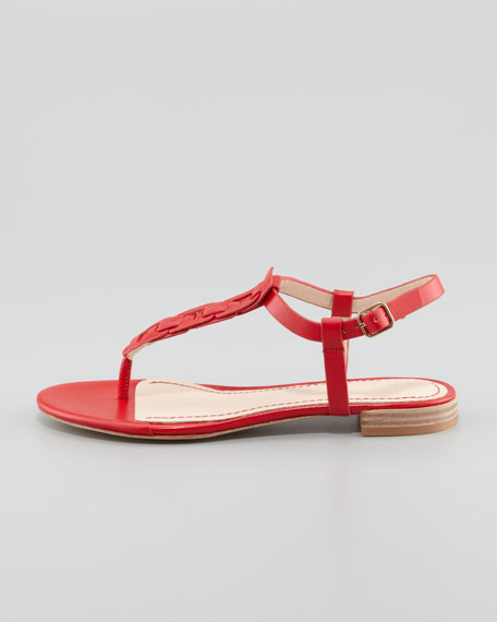 Enora Woven-T-Strap Thong Sandal, Red