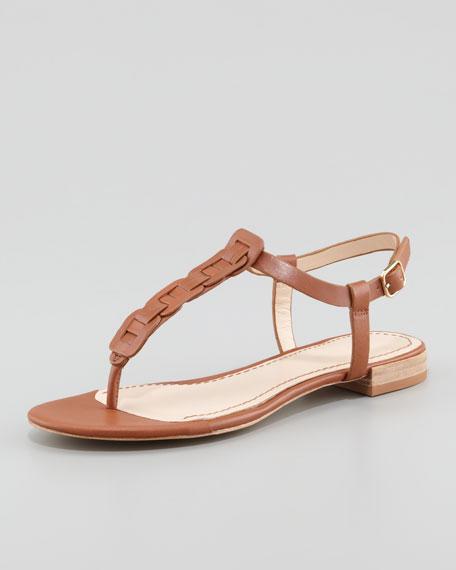 Enora Woven-T-Strap Thong Sandal, Cognac
