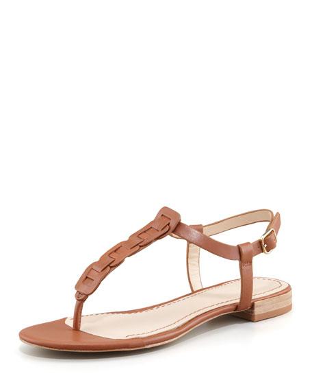 Enora Woven-T-Strap Thong Sandal, Camel