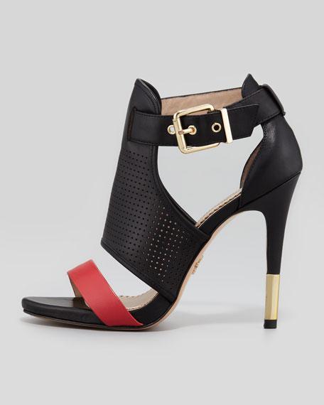 Selena Colorblock Cage Sandal, Black