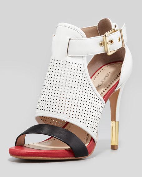Selena Colorblock Cage Sandal, White