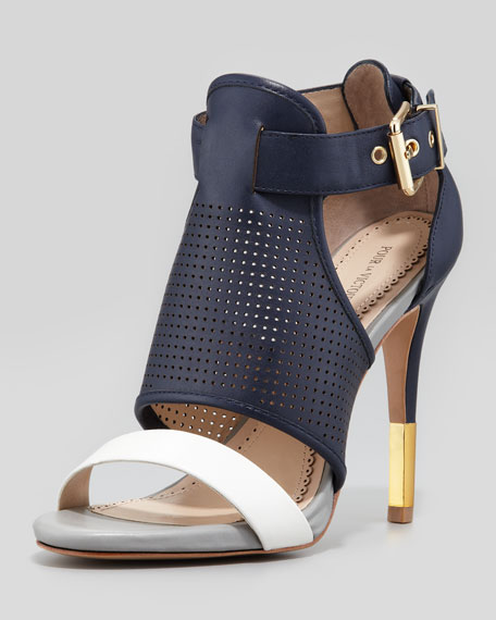 Selena Colorblock Cage Sandal, Navy