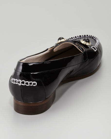 Patent Jewel-Button Oxford, Black