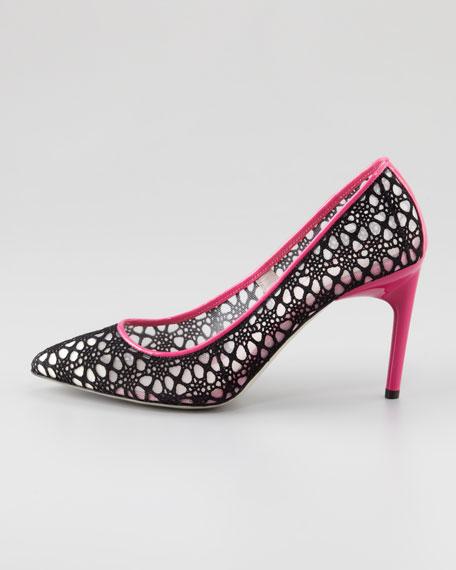 Crochet Lace Pump, Black/Magenta