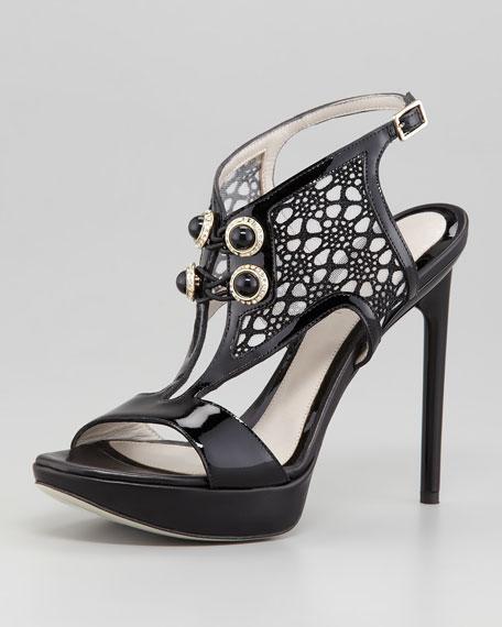 Ankle-Wrap Lace-Front Platform Sandal, Black