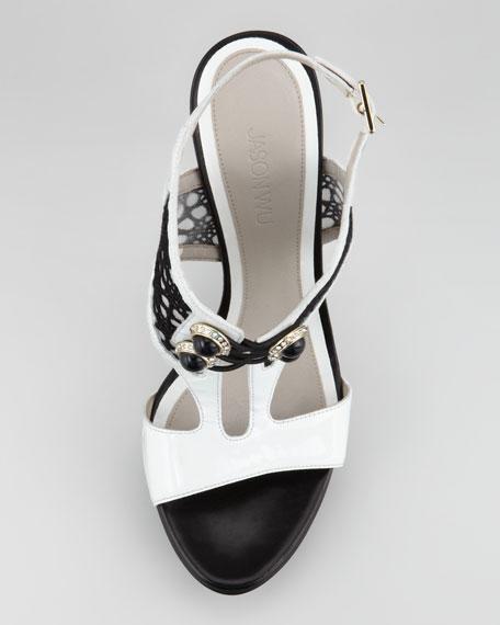 Verushka Lace-Front Platform Sandal, White/Black
