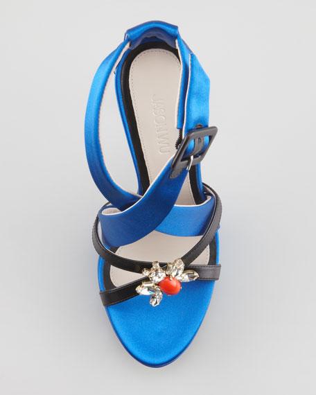 Marisa Jeweled Platform Sandal, Blue