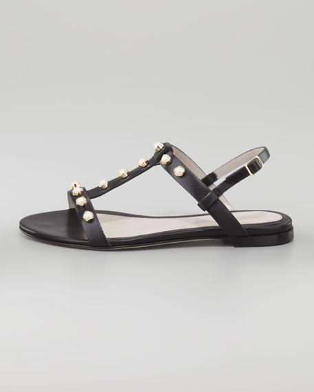 Isabella Jewel-Studded Flat Sandal