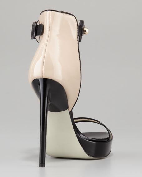 Nadja Pearly-Strap Platform Sandal, Nude/Black