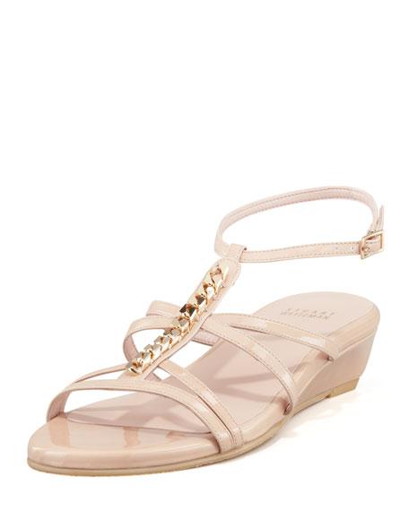 Tiffy Chain-Trim Wedge Sandal, Nude