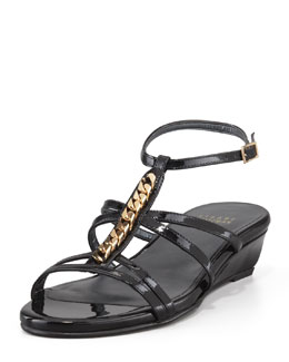 Stuart Weitzman Tiffy Chain-Trim Wedge Sandal, Black