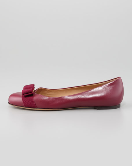 Varina Bow-Top Leather Ballet Flat, Corniola