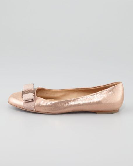 Varina Metallic Nubuck Ballet Flat, Rose Gold