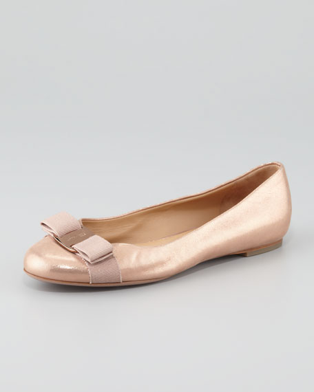 Salvatore Ferragamo Varina Metallic Leather Flats sale store outlet shop for outlet fake clearance cheap price cheap sale cheap z0biL