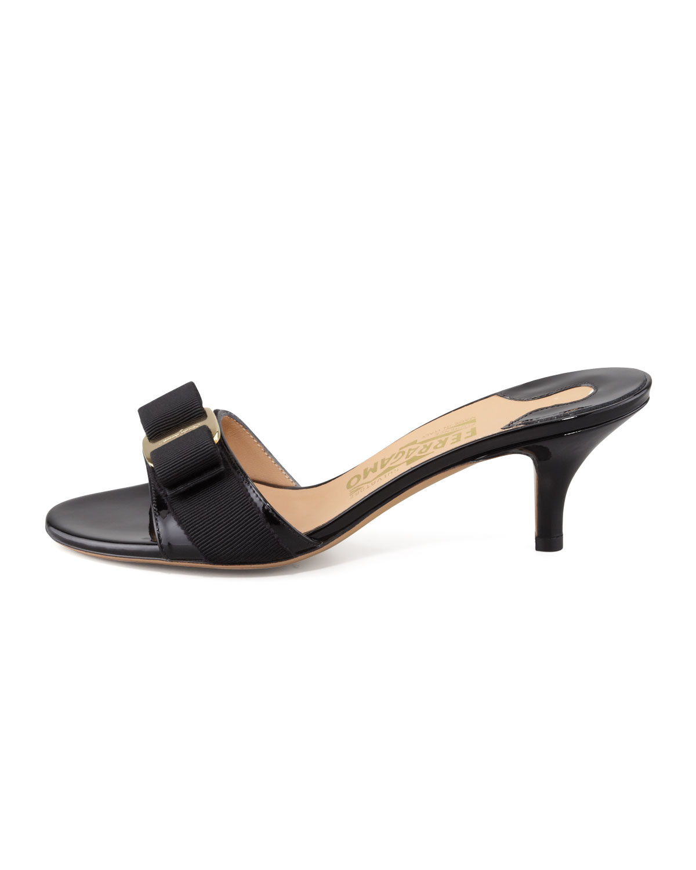 078bf84933 Salvatore Ferragamo Patent Bow Slide Sandal, Black | Neiman Marcus