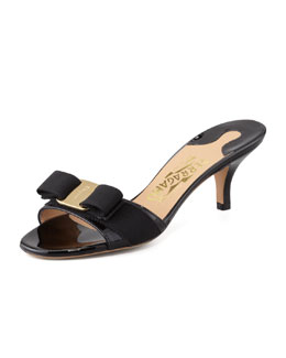 Salvatore Ferragamo Glory Patent Bow Slide Sandal, Black