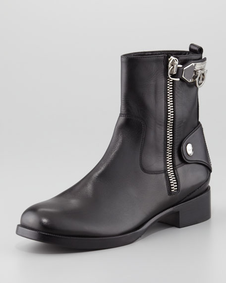 Rebel Leather Side-Zip Boot, Black