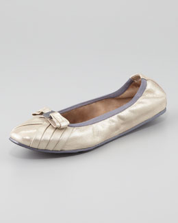 Salvatore Ferragamo My Joyful Metallic Leather Ballerina Flat, Silver