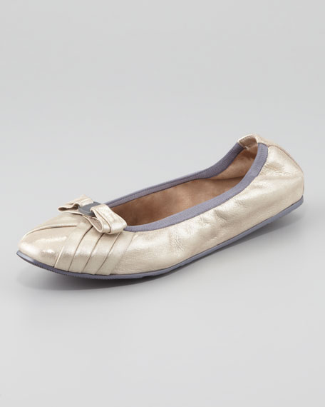 My Joyful Metallic Leather Ballerina Flat, Silver