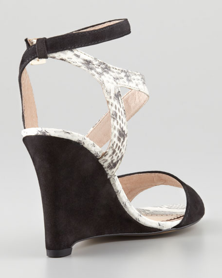Briella Snake & Suede Wedge Sandal, Black/Marble
