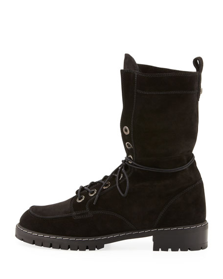 Workout Suede Lace-Up Boot, Black