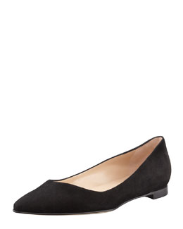 Manolo Blahnik BB Suede Pointed-Toe Flat, Black