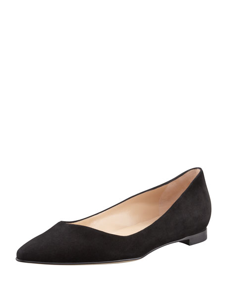 BB Suede Pointed-Toe Flat, Black