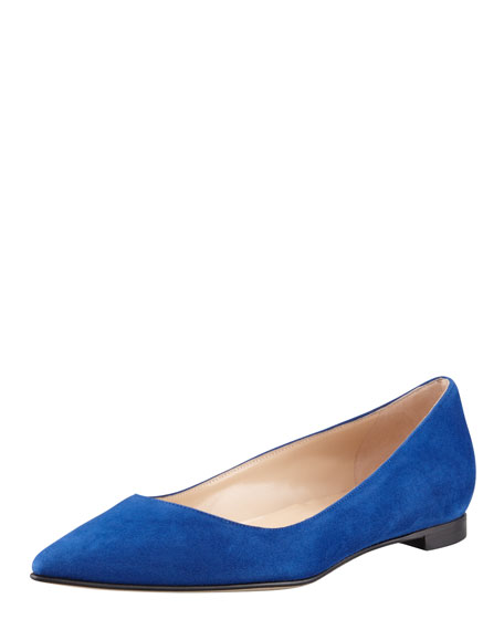 BB Suede Pointed-Toe Flat, Cobalt