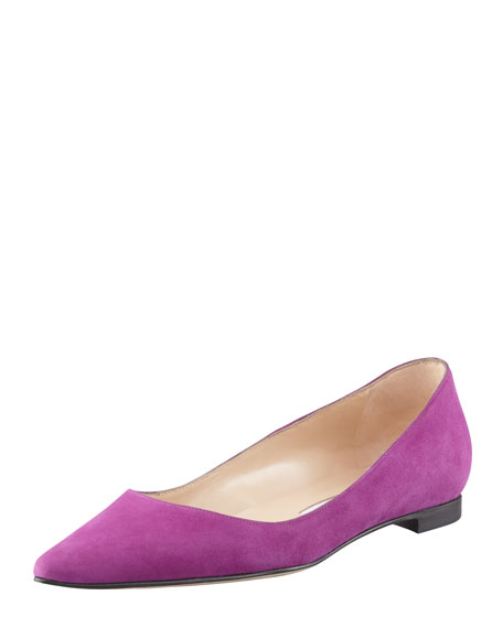 BB Suede Pointed-Toe Flat, Purple