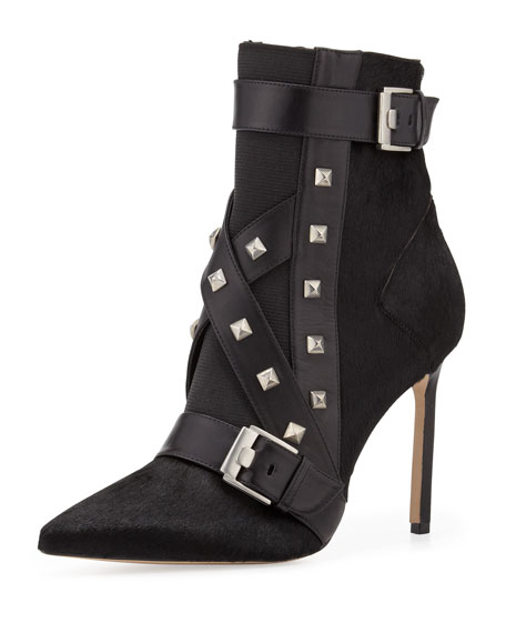Toapa Studded Mixed-Media Ankle Boot