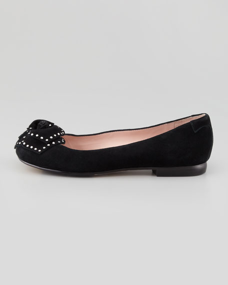 Babylon Studded Flower Ballerina Flat, Black