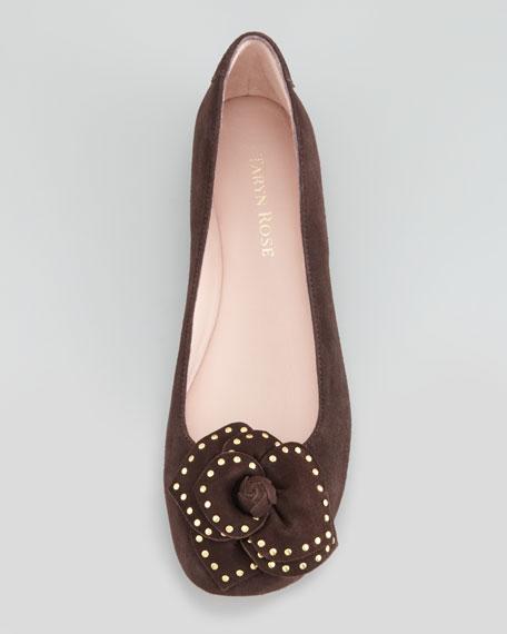 Babylon Studded Flower Ballerina Flat, Dark Brown